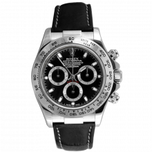 Rolex Mens Daytona 116519 40MM - White Gold - Black Dial - On A Black Leather Strap - Pre-owned
