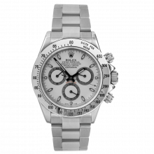 Rolex Mens Daytona 116520 40MM - Stainless Steel White Dial - With Bezel Engraving - Pre-owned