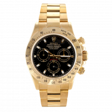 Pre-owned Rolex Mens Daytona Watch - 18K Yellow Gold Black Dial 116528 40MM Model
