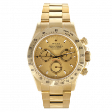 Pre-owned Rolex Mens Daytona Watch - Yellow Gold Champagne Dial 116528 40MM Model