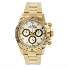 Pre-owned Rolex Mens Daytona Watch - Yellow Gold White Dial 116528 40MM Model