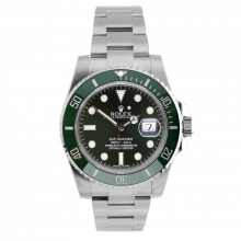 Pre-owned Rolex Mens Submariner Watch - Stainless Steel Green Dial & Green Ceramic Engraved Bezel 116610LV