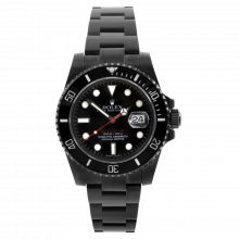 Pre-owned Rolex Mens Ceramic Submariner Stainless Steel Watch - With Black DLC/PVD Coating - Red Accents 116610 Model
