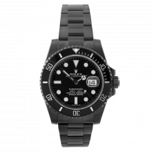 Pre-owned Rolex Mens Ceramic Submariner Stainless Steel Watch -  With Black DLC/PVD Coating - 116610 Model