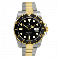 Pre-owned Rolex Mens Submariner Watch - Two Tone Black Dial & Ceramic Bezel 116613LN