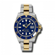 New Rolex Men's Submariner Watch - 18K/SS Two Tone Blue Dial - 60 Minute Ceramic Bezel - Oyster Bracelet 40 MM 116613LN