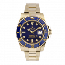 Pre-owned Rolex Mens Submariner Watch - Yellow Gold Blue Dial & Ceramic Bezel 116618
