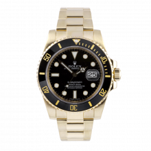 Pre-owned Rolex Mens Submariner Watch - 18K Yellow Gold Black Dial & Ceramic Bezel 116618