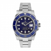 Pre-owned Rolex Mens Submariner Watch - 18K White Gold Blue Dial And Ceramic Bezel 116619 Display Model