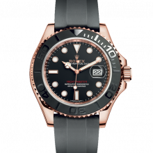 Rolex Yacht-Master 116655 Black Dial 40mm 18K Rose Gold / Everose Gold - Oysterflex Rubber Strap - UNUSED