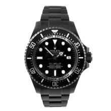 Pre-owned Rolex Mens Sea Dweller DEEPSEA Stainless Steel Watch - With Black DLC/PVD Coating - Black Dial 116660 Model