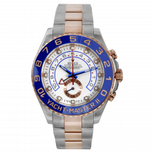 Pre-owned Rolex Mens Yacht-Master II Watch - Two Tone SS/18K Rose Gold White Dial 116681 44MM Model