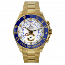Pre-owned Rolex Mens Yacht-Master II Watch - Yellow Gold 18K Yellow Gold With A White Dial 116688 44MM Model