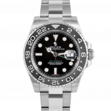 Pre-owned Rolex Mens GMT Master II Watch - Stainless Steel Black Dial & Ceramic Bezel 116710LN