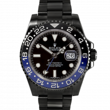 Pre-owned Rolex GMT Master II Stainless Steel 40mm Watch -  Custom Black Dial - Custom Black & Blue Ceramic Bezel - Oyster Bracelet with PVD/DLC Coating - 116710