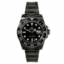 Pre-owned Rolex Mens Ceramic GMT Master II Stainless Steel Watch - With Black DLC/PVD Coating - Black Dial 116710 Model