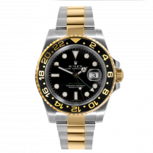Pre-owned Rolex Mens GMT Master II Watch - Two Tone Black Dial & Ceramic Bezel 116713LN Display Model