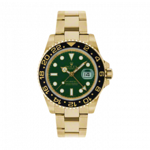 Pre-Owned Rolex Men's GMT Master II Watch 18K Yellow Gold Green Dial - Ceramic Bezel - Oyster Bracelet 40 MM 116718