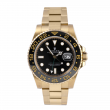 Pre-owned Rolex Mens GMT Master II Watch - Yellow Gold Black Dial & Ceramic Bezel 116718