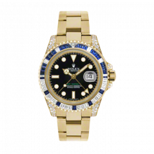 New Rolex Men's GMT Master II Watch - 18K Yellow Gold Black Dial - Diamond/Sapphire Bezel - Diamond Lugs - Oyster Bracelet 40 MM 116758