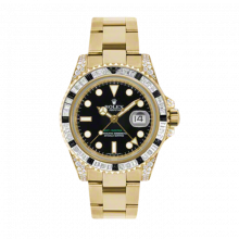 New Rolex Men's GMT Master II Watch - 18K Yellow Gold Black Dial - Diamond/Black Sapphire Bezel - Diamond Lugs - Oyster Bracelet 40 MM 116758