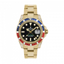 "New Rolex Men's GMT Master II Watch - 18K Yellow Gold Black Dial - ""Pepsi"" Diamond/Blue Sapphire/Red Ruby Bezel - Diamond Lugs - Oyster Bracelet 40 MM 116758"