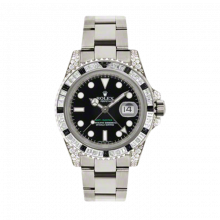 New Rolex Men's GMT Master II Watch - 18K White Gold Black Dial - Diamond/Black Sapphire Bezel - Diamond Lugs - Oyster Bracelet 40 MM 116759