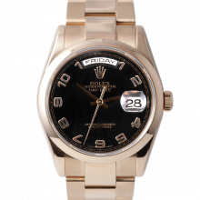 Pre-owned Rolex Mens New Style Rose Gold Day Date President Watch - Black Arabic Dial & Smooth Bezel On A Solid Gold Oyster Band