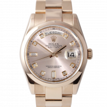 Pre-owned Rolex Mens Rose Gold Day Date President Watch - Factory Rose Diamond Dial & Smooth Bezel On A Solid Gold Oyster Band