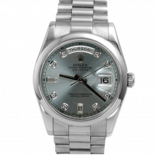Pre-owned Rolex Mens New Style Platinum Day Date President Watch - Factory Ice Diamond Dial & Smooth Bezel 118206 Model