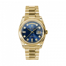 New Rolex Men's New Style Day-Date Watch - Yellow Gold President Blue Diamond Dial  - Domed/ Smooth Bezel-  Presidential Bracelet 36 MM 118208