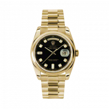 New Rolex New Style Men's Day-Date Watch - Yellow Gold President Black Diamond Dial  - Domed/ Smooth Bezel-  Presidential Bracelet 36 MM 118208