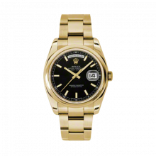 New Rolex Men's New Style Day-Date Watch - Yellow Gold President Black Index Dial  - Domed/ Smooth Bezel-  Oyster Bracelet 36 MM 118208