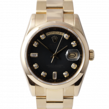 Pre-owned Rolex Mens New Style Yellow Gold Day Date President Watch - Factory Black Diamond Dial & Smooth Bezel On A Solid Gold Oyster Band