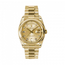 New Rolex Men's New Style Day Date Watch - Yellow Gold President Champagne Diamond Dial  - Domed/ Smooth Bezel-  Presidential Bracelet 36 MM 118208