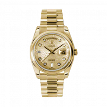 New Rolex Men's New Style Day Date Watch - Yellow Gold President Champagne Jubilee Diamond Dial  - Domed/ Smooth Bezel-  Presidential Bracelet 36 MM 118208