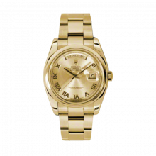 New Rolex Men's New Style Day-Date Watch - Yellow Gold President Champagne Roman Dial  - Domed/ Smooth Bezel-  Oyster Bracelet 36 MM 118208