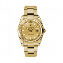 New Rolex Men's New Style Day-Date Watch - Yellow Gold President Champagne Silver Dial  - Domed/ Smooth Bezel-  Oyster Bracelet 36 MM 118208
