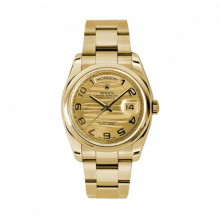 New Rolex Men's New Style Day-Date Watch - Yellow Gold President Champagne Wave Arabic Dial  - Domed/ Smooth Bezel-  Oyster Bracelet 36 MM 118208