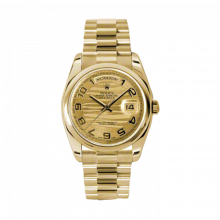 New Rolex Men's New Style Day Date Watch - Yellow Gold President Champagne Wave Arabic Dial  - Domed/ Smooth Bezel-  Presidential Bracelet 36 MM 118208