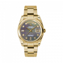 New Rolex Men's New Style Day-Date Watch - Yellow Gold President Dark Mother of Pearl  Diamond Dial  - Domed/ Smooth Bezel-  Oyster Bracelet 36 MM 118208