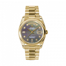 New Rolex New Style Men's Day-Date Watch - Yellow Gold President Dark Mother of Pearl  Diamond Dial  - Domed/ Smooth Bezel-  Presidential Bracelet 36 MM 118208