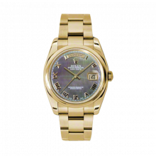 New Rolex Men's New Style Day-Date Watch - Yellow Gold President Dark Mother of Pearl Roman Dial  - Domed/ Smooth Bezel-  Oyster Bracelet 36 MM 118208