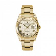 New Rolex Men's New Style Day-Date Watch - Yellow Gold President Ivory Pyramid Roman Dial  - Domed/ Smooth Bezel-  Oyster Bracelet 36 MM 118208