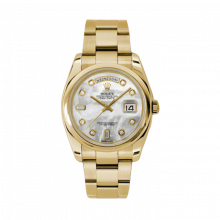 New Rolex Men's New Style Day-Date Watch - Yellow Gold President Mother of Pearl  Diamond Dial  - Domed/ Smooth Bezel-  Oyster Bracelet 36 MM 118208