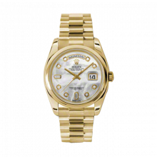 New Rolex Men's New Style Day Date Watch - Yellow Gold President Mother of Pearl  Diamond Dial  - Domed/ Smooth Bezel-  Presidential Bracelet 36 MM 118208