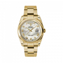 New Rolex MEn's New Style Day-Date Watch - Yellow Gold President Mother of Pearl Roman Dial  - Domed/ Smooth Bezel-  Oyster Bracelet 36 MM 118208