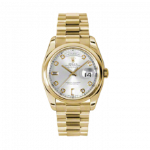 New Rolex Men's New Style Day Date Watch - Yellow Gold President Silver Diamond Dial  - Domed/ Smooth Bezel-  Presidential Bracelet 36 MM 118208