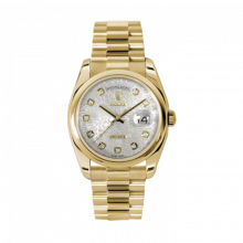 New Rolex Men's New Style Day Date Watch - Yellow Gold President Silver Jubilee Diamond Dial  - Domed/ Smooth Bezel-  Presidential Bracelet 36 MM 118208