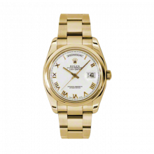 New Rolex Men's New Style Day-Date Watch - Yellow Gold President White Roman Dial  - Domed/ Smooth Bezel-  Oyster Bracelet 36 MM 118208